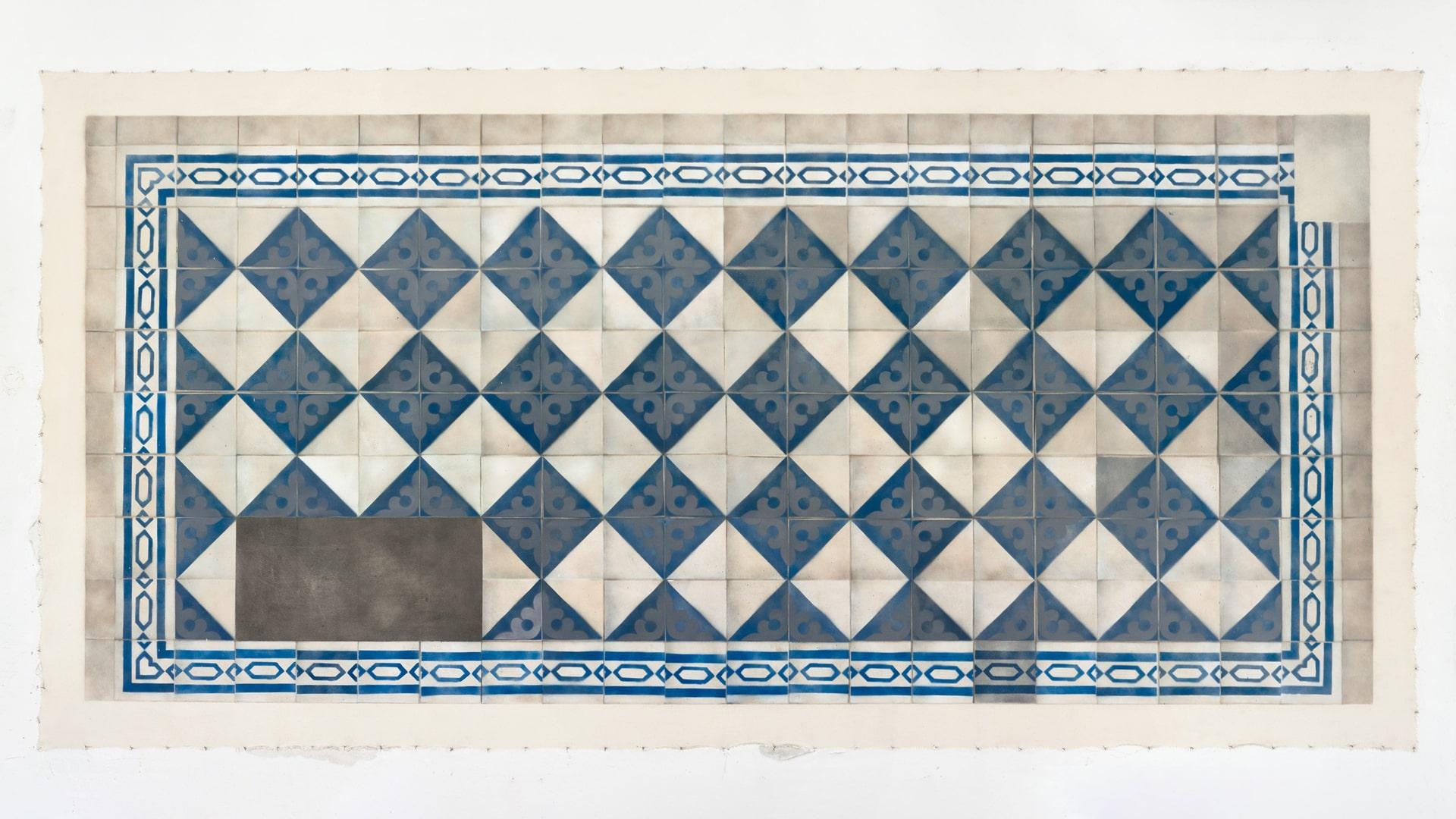 Cultural Floor. Jewish / Blue Slate, 2016 Canvas, spray-paint, silicone, 193x393cm. 23 Pamenkalnio St. / 5 Auku St. © Eglė Ridikaitė