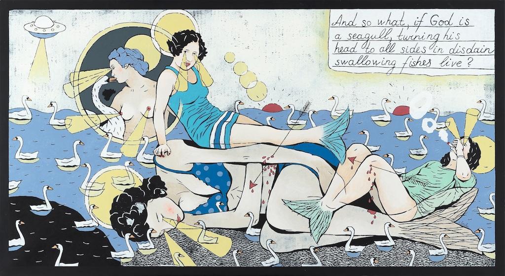 4. Laisvyde Salciute. Mermaids, 2018, oil, acrylic, canvas, 82x150 cm. Contour Art Gallery