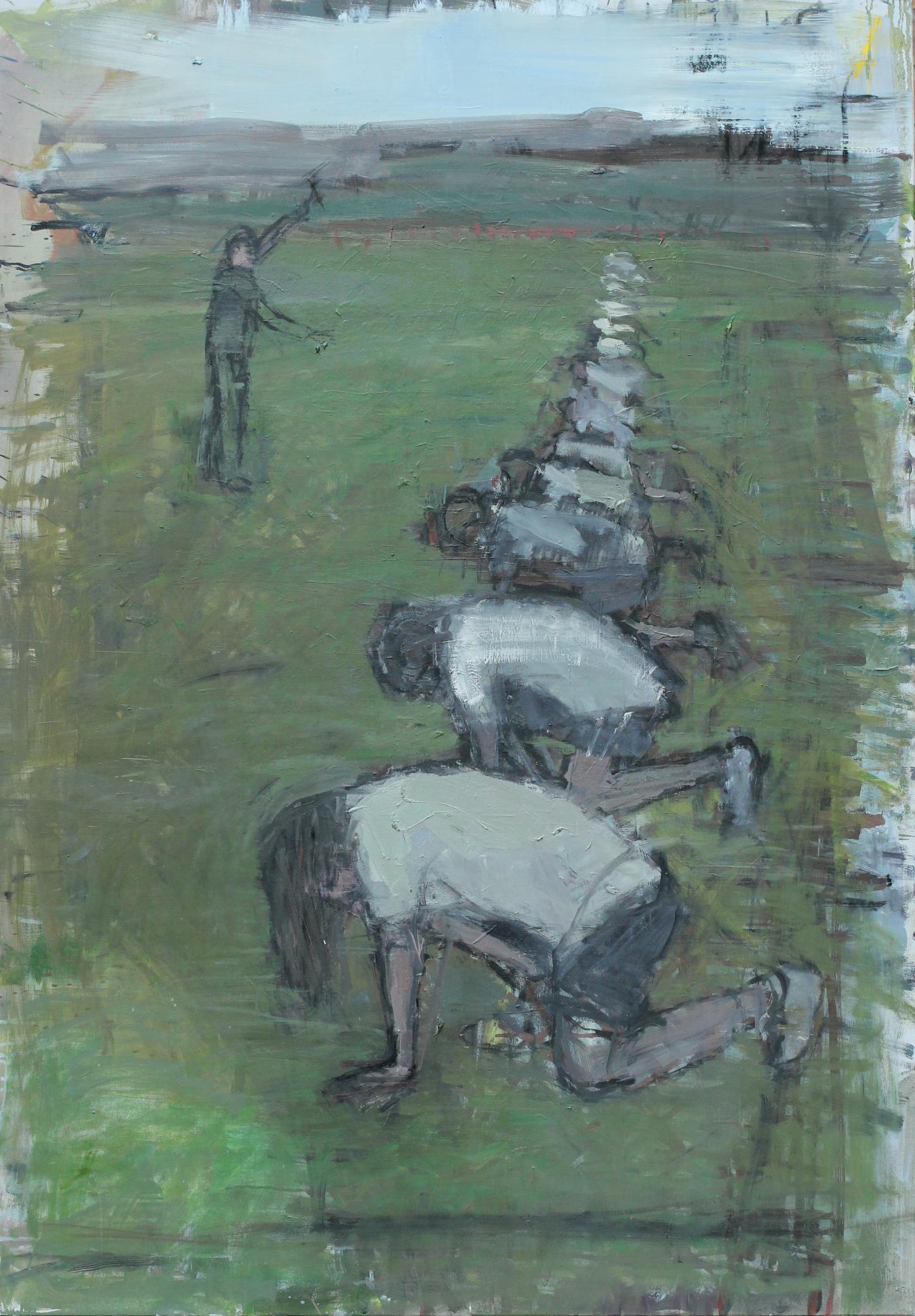 Eglė Butkutė. Žemas startas. Start position. Aliejus, drobė. Oil on canvas. 103x148. 2014