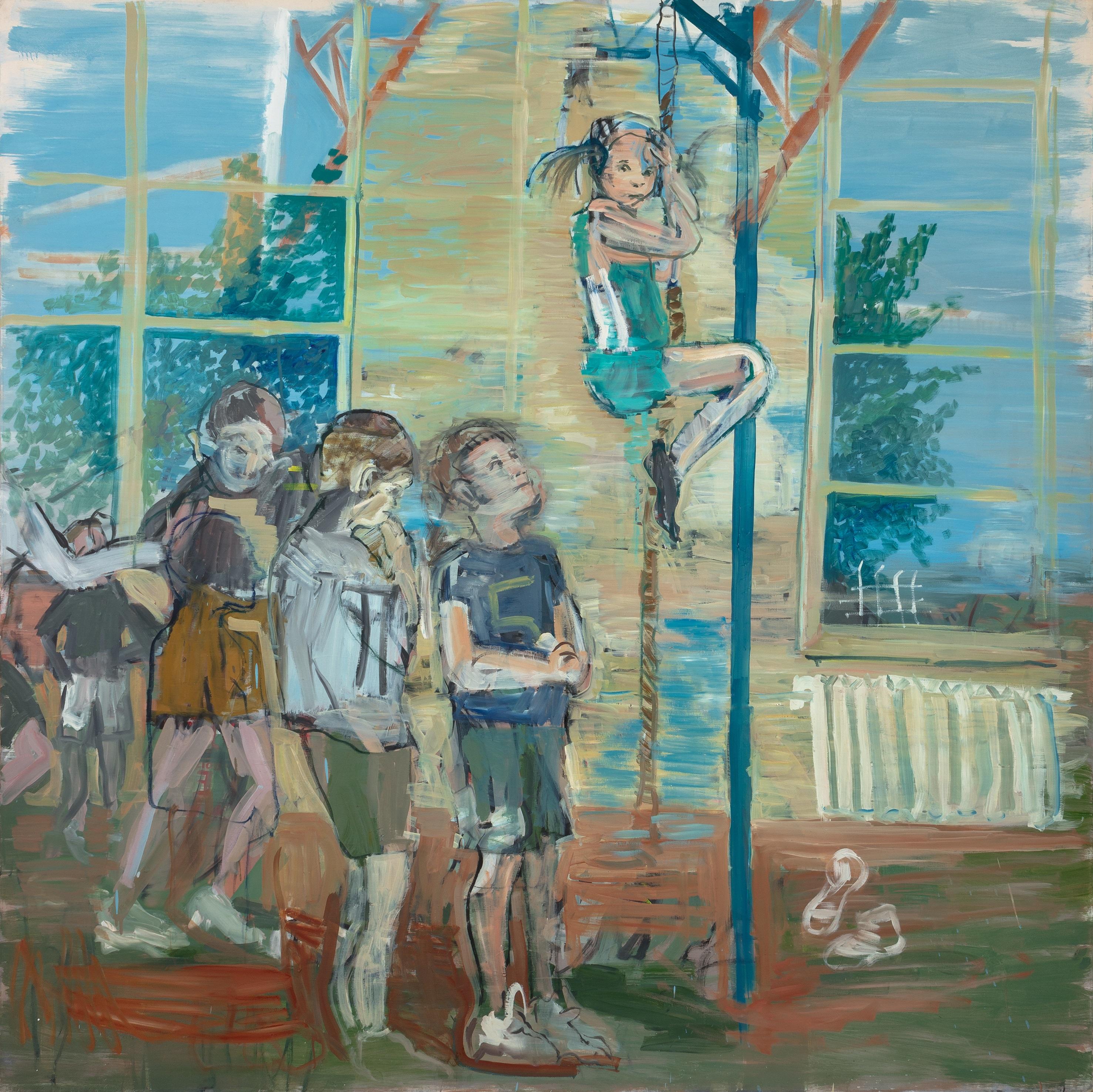 Eglė Butkutė. Aš aukštai ir man baisu! Too High! too High!! Aaliejus, drobė. Oil on canvas. 200 x200 cm, 2017