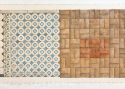 Kultūringos grindys. Viršutinis aukštas, pusiau balta, pusiau ruda, Pamėnkalnio g.23/Aukų g. 5, 2016