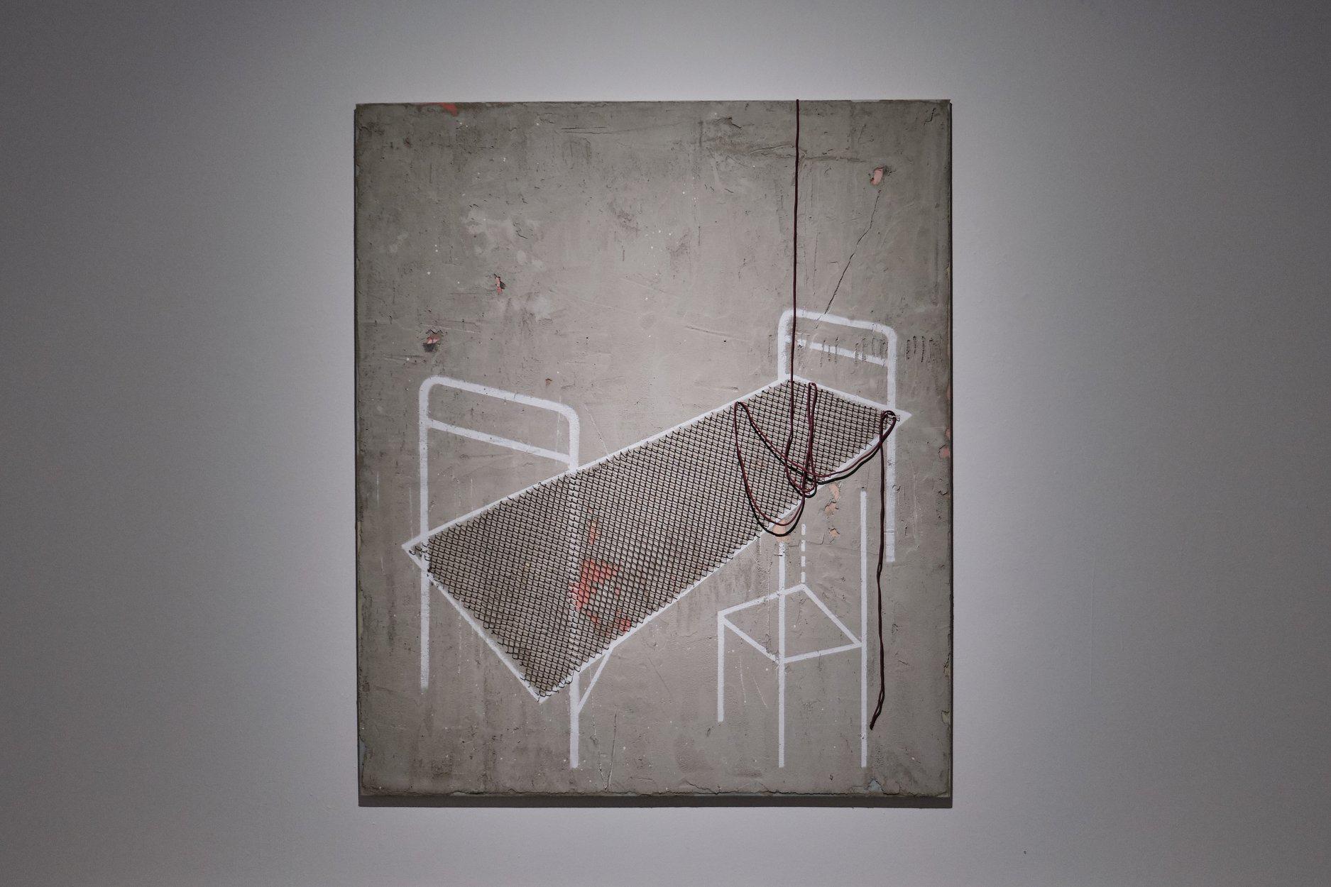 Dainius Trumpis. Premonition. 2017. Wood, canvas, acrylic, concrete, metal, synthetic string, mirror 200cm. x 160cm.