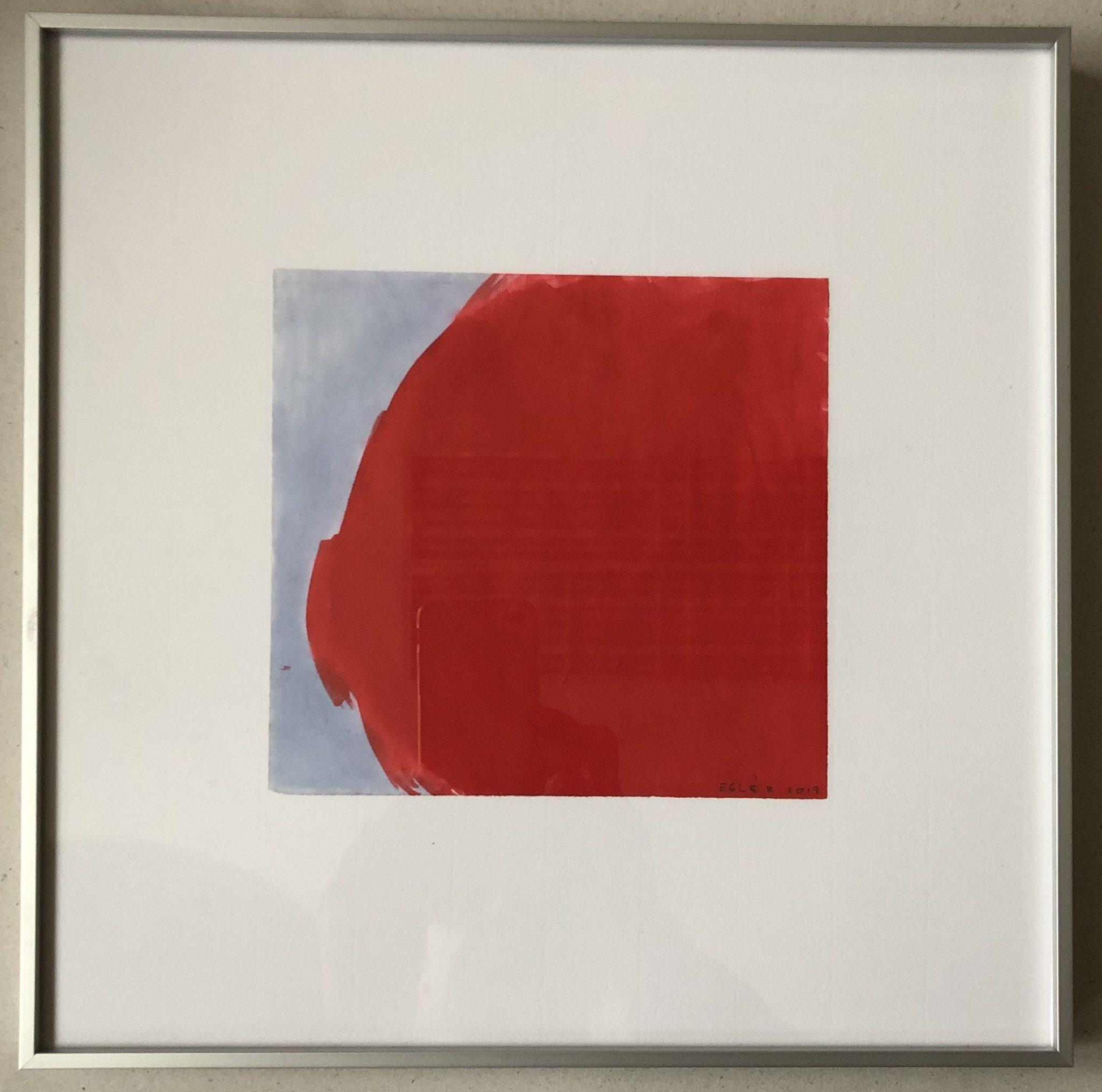 Eglė Ridikaitė, Trys dienos Veronoje + raudonas lagaminėlis, 2019, promarkeris, Letraset popierius, 14X16 cm (darbas) Įrėmintas.