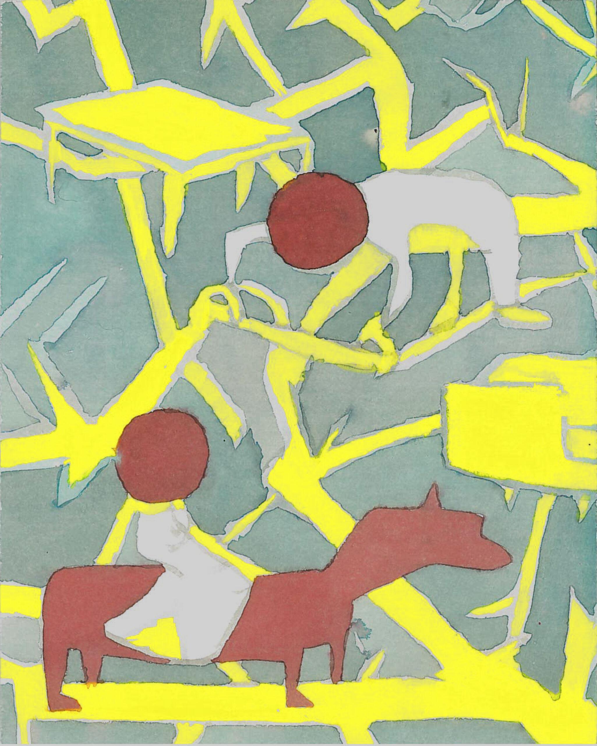 Pagal Italo Calvino Mūsų protėviai. Medyje. Akvarelė ant estampinio popieriaus. 25x20cm. 2017