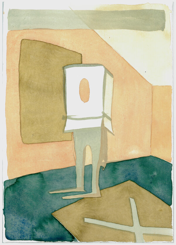 According to Kobo Abe. Man Box. Watercolor on print paper. 39x27,5cm. 2017