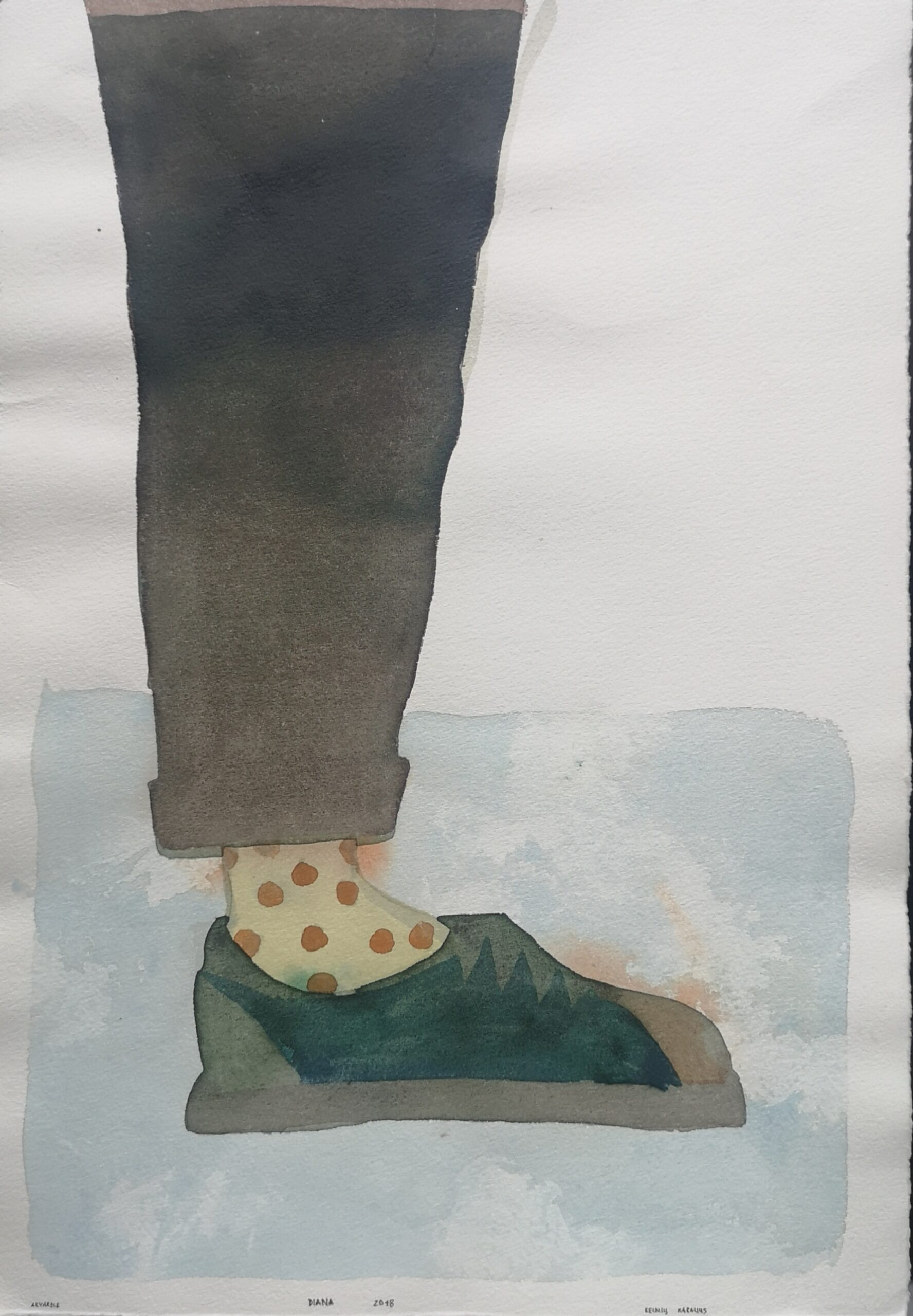 According to Romain Gary King Solomon. King of the Pants. Watercolor on print paper. 39,5x27cm. 2018
