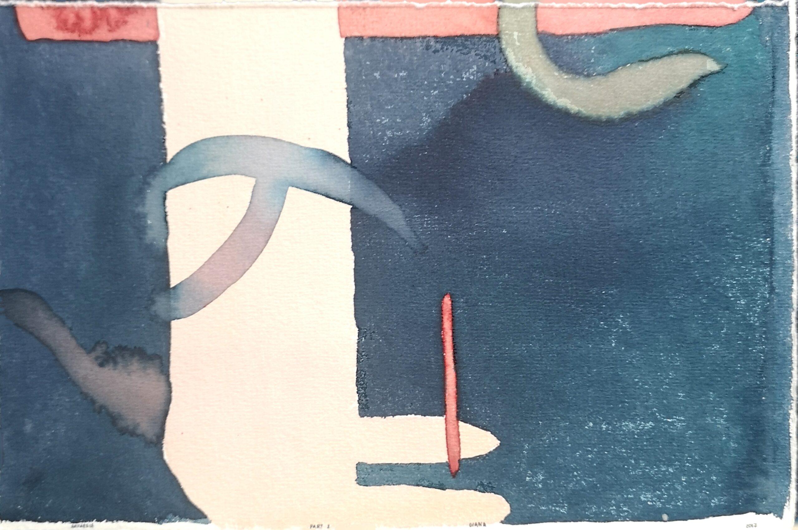 Pagal Romain Gary Meilutis. Part2. Akvarelė ant estampinio popierius. 16x24cm. 2017